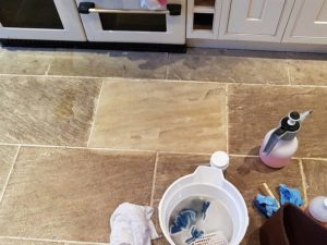 Limestone floor cleaning Brighton - demonstration